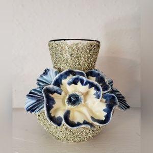 Vintage Blue Flower Sand Majolica Vase